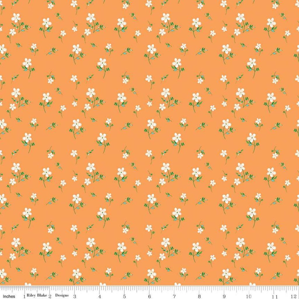 Riley Blake, Play Outside - Flowers, Orange