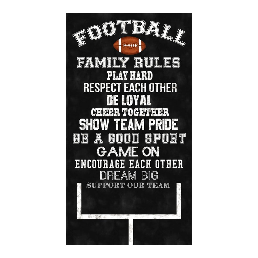 Football Family Rules Black Panel by Timeless Treasures