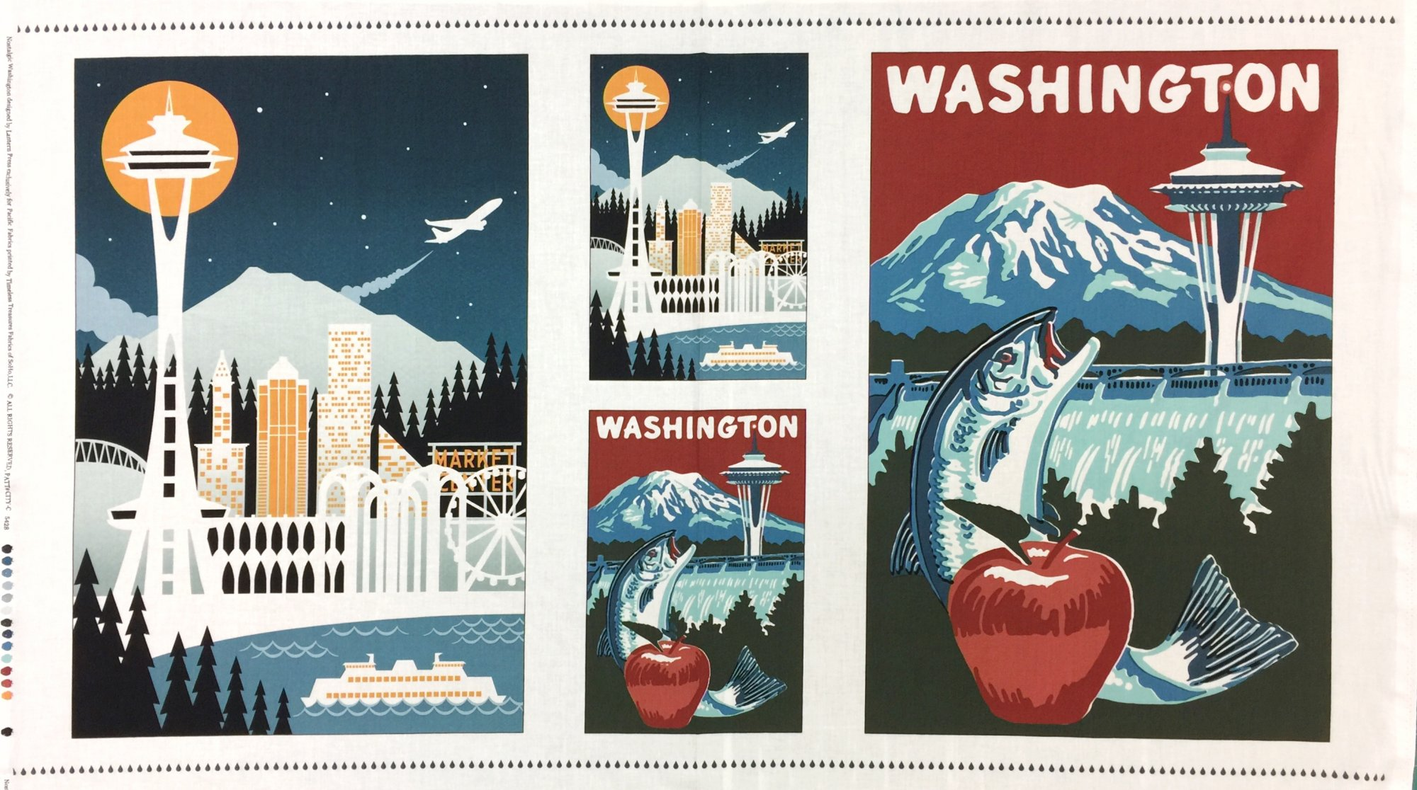 Timeless Treasures - Retro Skyline Washington 24 Panel