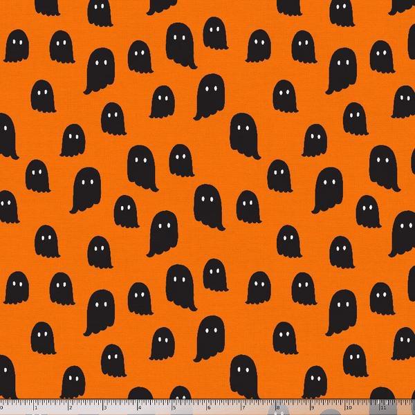 Paintbrush Studio Fabrics,  Halloween Night - Ghosts Orange