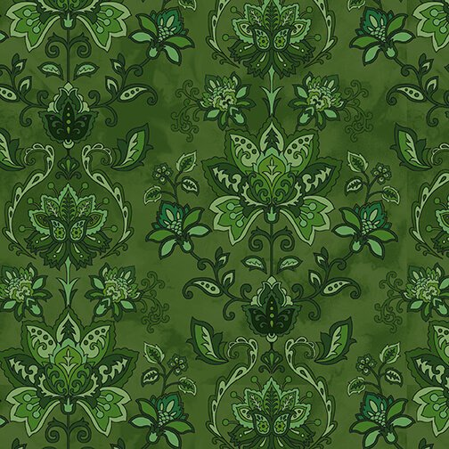 Henry Glass, Jacobean Joyeux - Green Damask