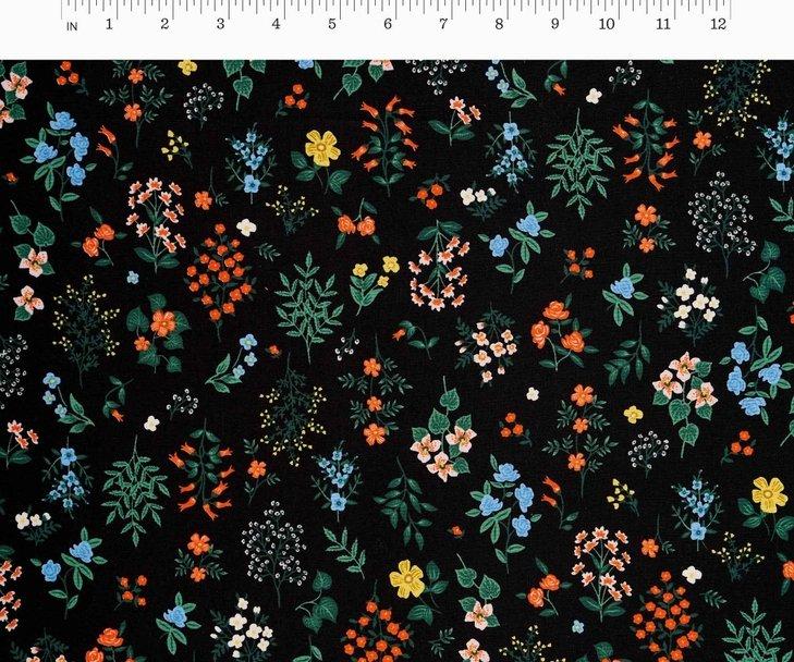 Cotton + Steel, Strawberry Fields - Hawthorne Black