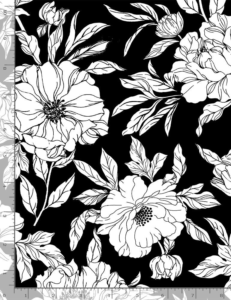 Timeless Treasures, Inked - Drawn Florals