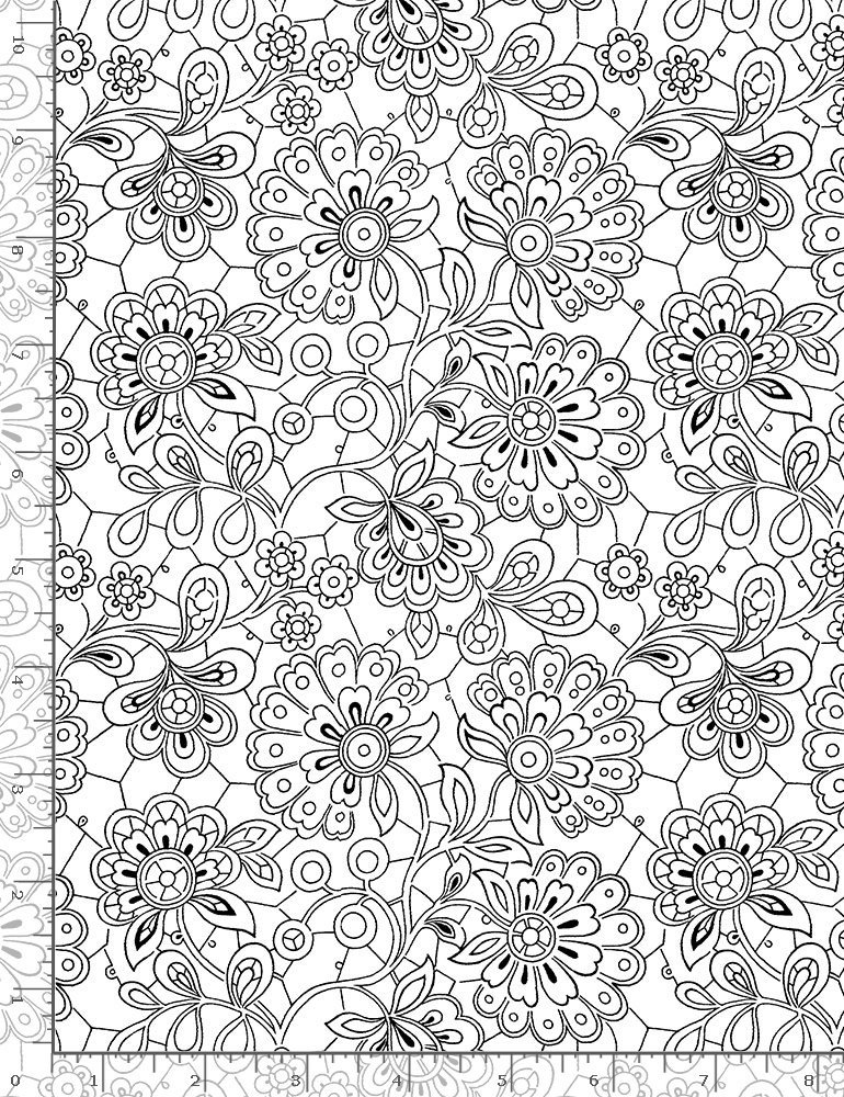 Timeless Treasures, Inked - White Paisley