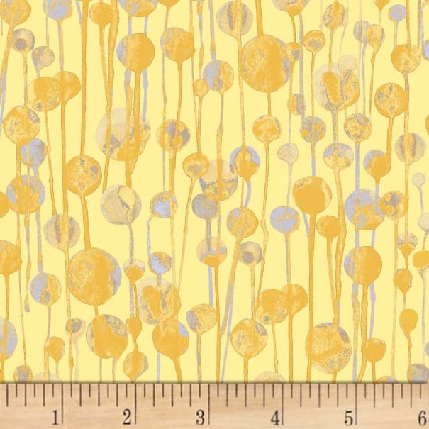 Ink Flower Drops Yellow by P & B Textiles