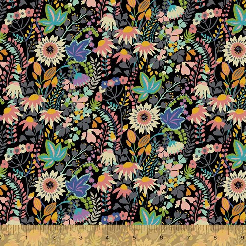 WINDHAM FABRICS, Paradiso by Sally Kelly - JERSEY KNIT Flowerbed Black