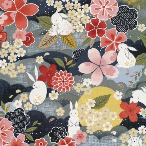 Paintbrush Studio Fabrics, Moon Rabbit, MAIN Black