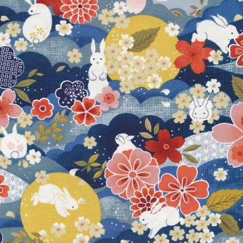 Paintbrush Studio Fabrics, Moon Rabbit, MAIN Blue