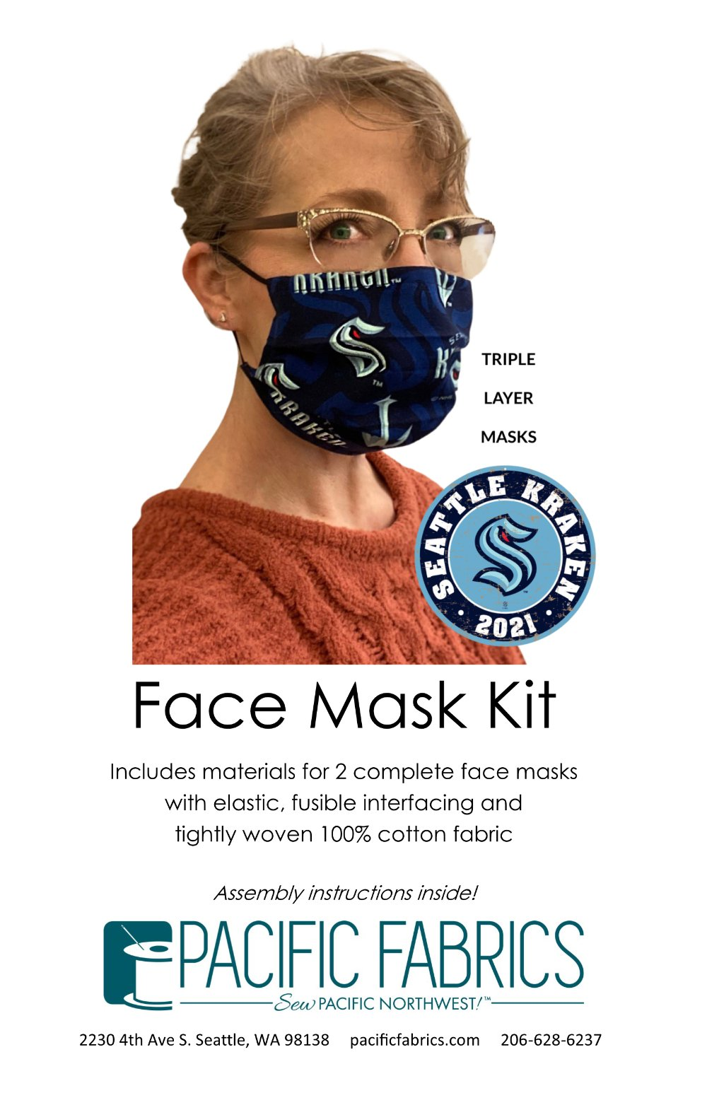 Sports Fan Mask Kit, SEATTLE KRAKEN