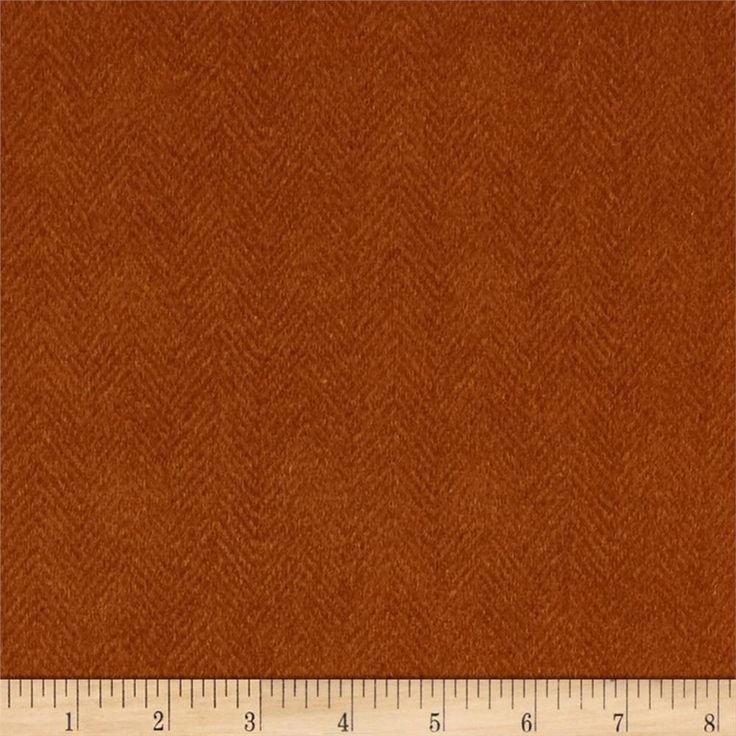 Maywood Studio Woolies Flannel Orange Herringbone