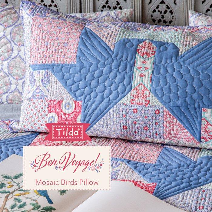 FREE PATTERN! Mosaic Birds Pillow - Tilda