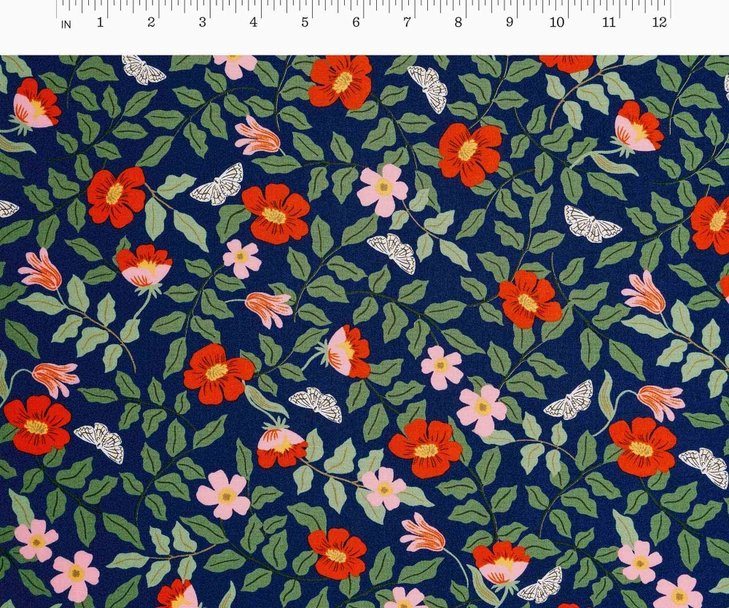 Cotton + Steel, Strawberry Fields - Primrose Navy RAYON