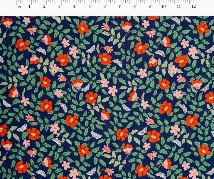 Cotton + Steel, Strawberry Fields - Primrose Navy