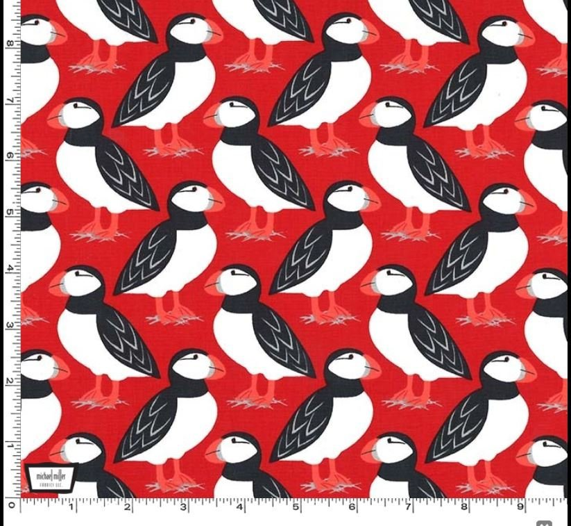 Overstock ACADIA MARINE SEASIDE by Michael Miller -  Puffin Perch Red