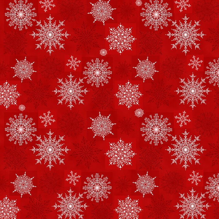 Henry Glass, Holiday Lane -  Red Snowflakes on Texture