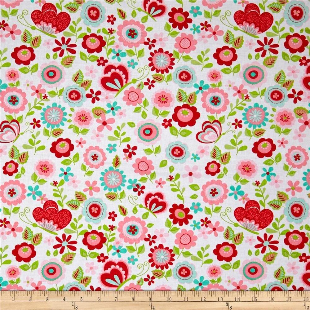 Riley Blake Flannel Butterflies & Berries White