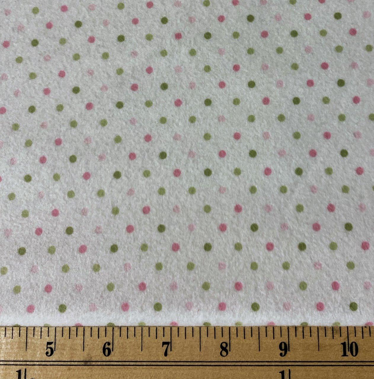 Robert Kaufman Flannel Dots Pink/Green