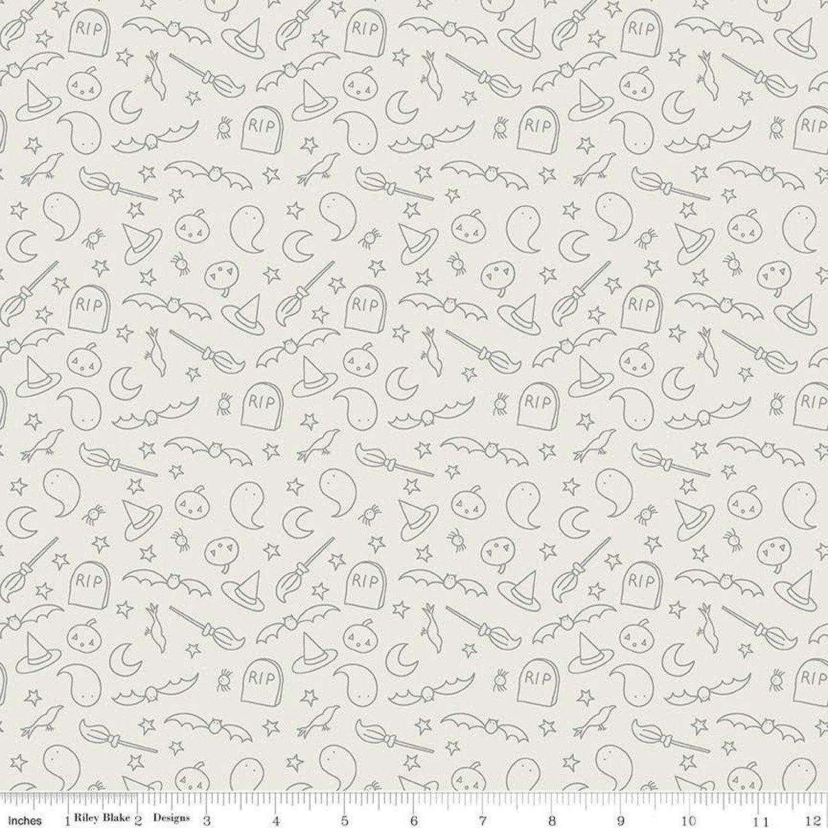 Riley Blake Designs, Spooky Hollow - Icons Eggshell