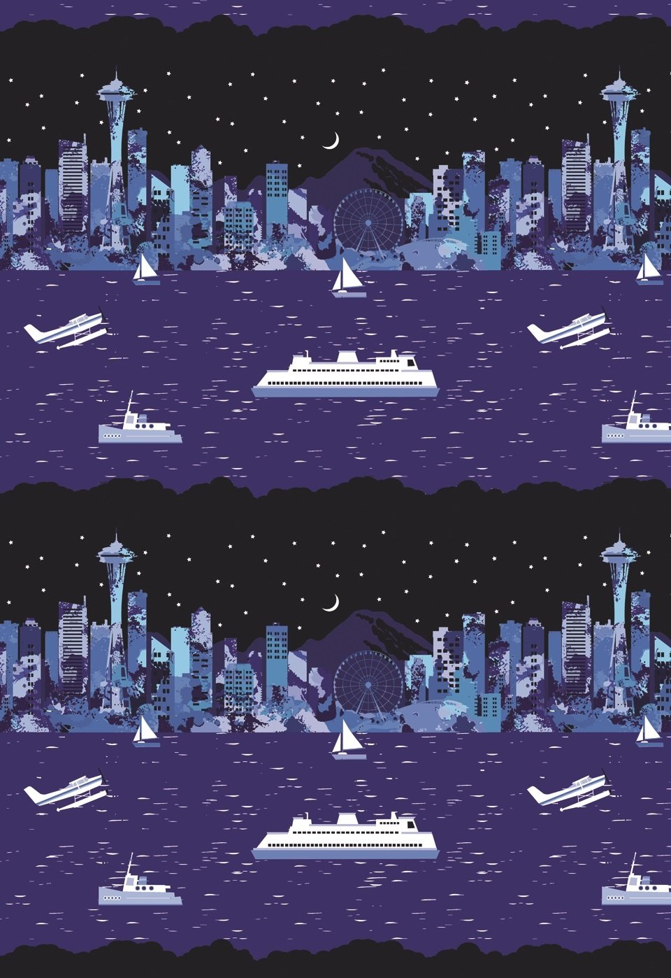 2018 Exclusive Pacific Fabrics Seattle Stripe - Night