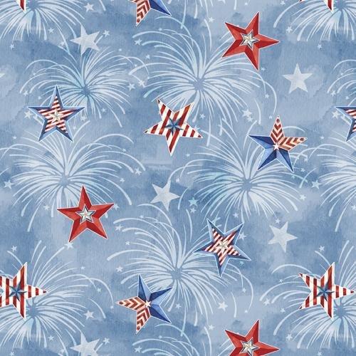 Wilmington Prints, Liberty Lane - Sky All-Over Blue Stars
