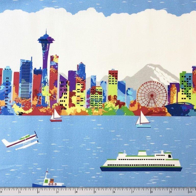 Pacific Fabrics Exclusive, Seattle Skyline - Repeat Stripe - Bright