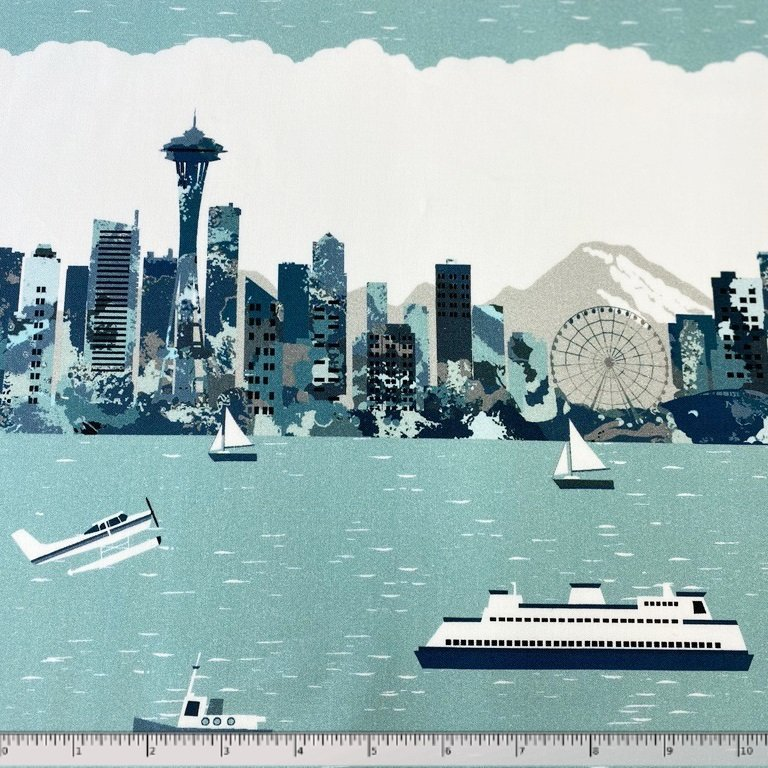 Pacific Fabrics Exclusive, Seattle Skyline - Repeat Stripe - Mist