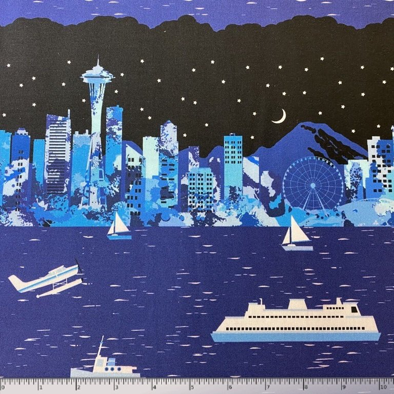 Pacific Fabrics Exclusive, Seattle Skyline - Repeat Stripe - Night