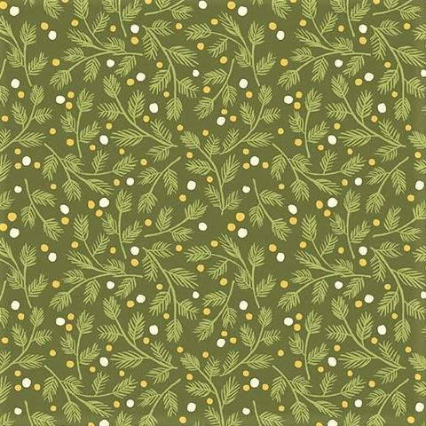 Andover, Metallic Mistletoe - Snowy Trees Green