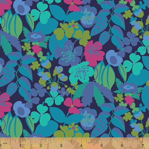 WINDHAM FABRICS, Solstice by Sally Kelly - Camellia Blue