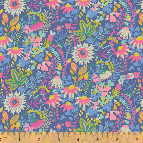 WINDHAM FABRICS, Solstice by Sally Kelly - Flower Bed Blue