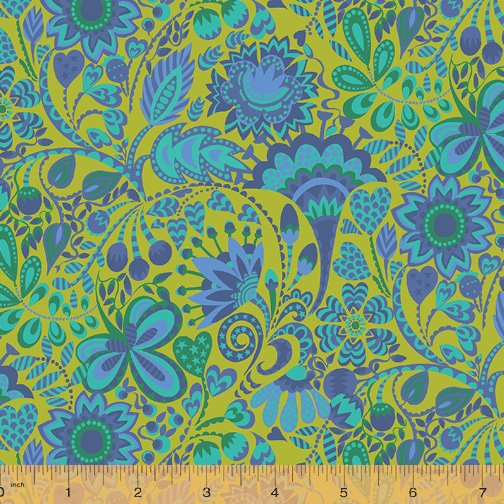 WINDHAM FABRICS, Solstice by Sally Kelly - Windy Lime