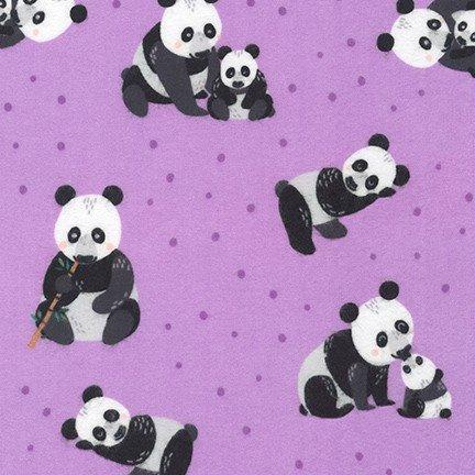 Robert Kaufman Flannel Panda Purple