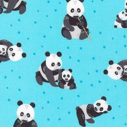 Robert Kaufman Flannel Panda Aqua