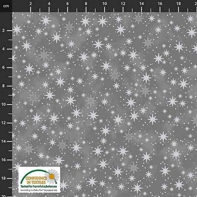 Stof Fabrics -  Christmas is Near - Stars Dark Grey/Silver
