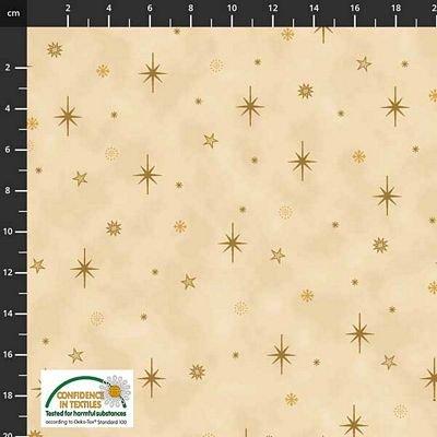Stof Fabrics -  Christmas is Near - Gold Stars Beige