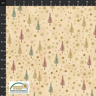 Stof Fabrics -  Christmas is Near - Trees Beige/Gold