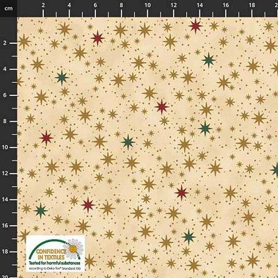 Stof Fabrics -  Christmas is Near - Stars Beige Multi Gold