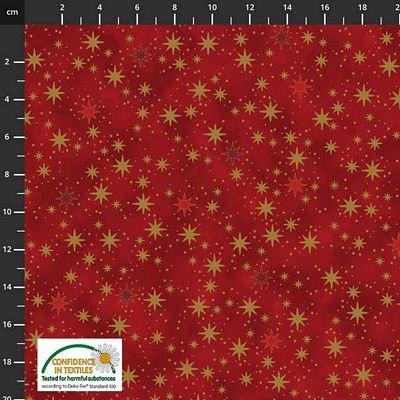 Stof Fabrics -  Christmas is Near - Gold Stars Red