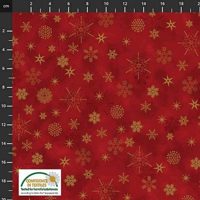 Stof Fabrics -  Christmas is Near - Star & Snowflakes Red/Gold