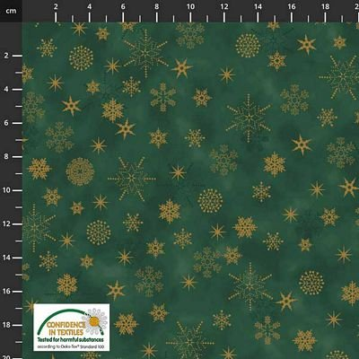 Stof Fabrics -  Christmas is Near - Star & Snowflakes Green/Gold