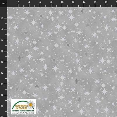 Stof Fabrics -  Christmas is Near - Stars Grey/Silver