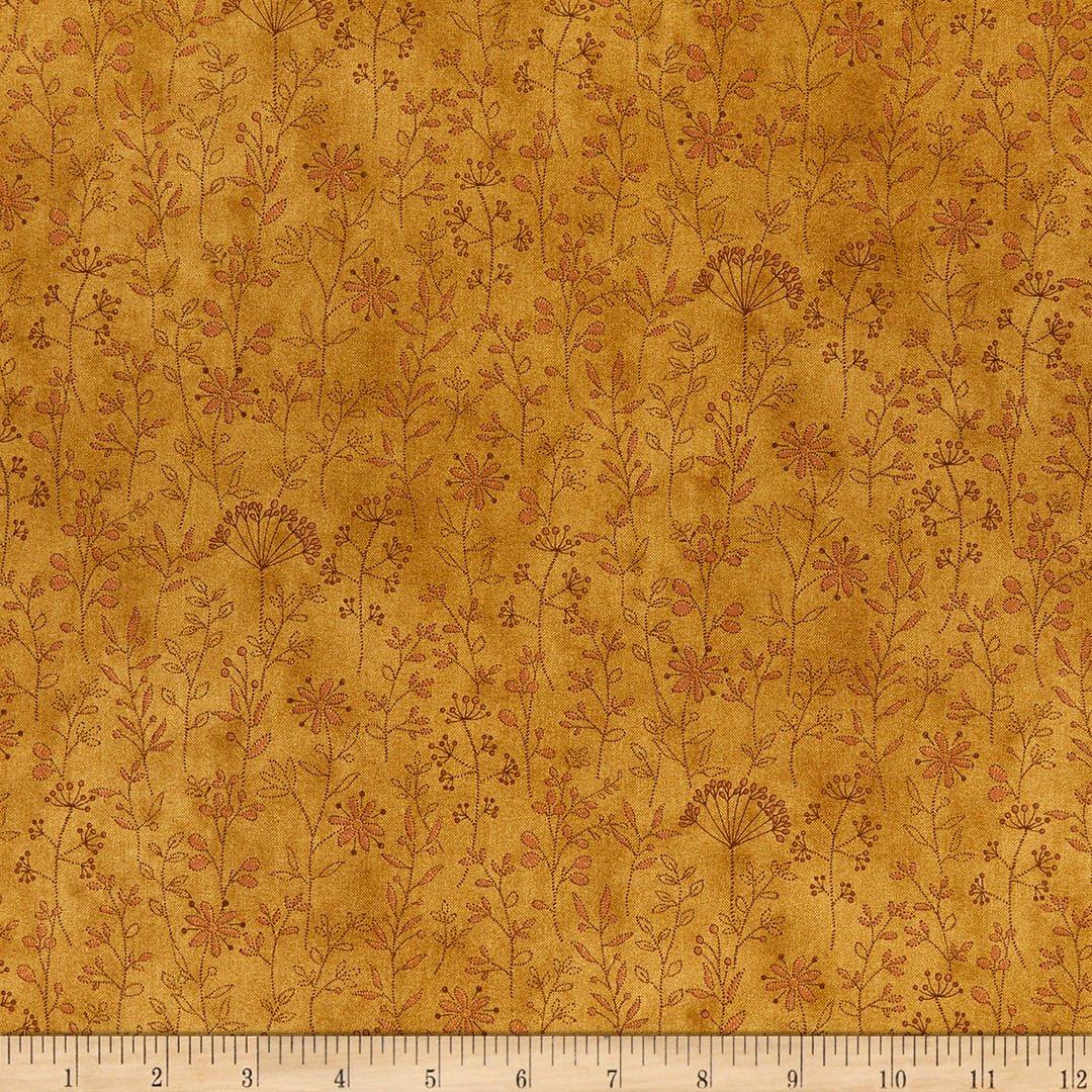 Henry Glass - by Janet Nesbitt - Stitched Flower Stripe Gold