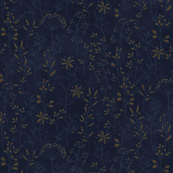 Henry Glass - by Janet Nesbitt - Stitched Flower Stripe Navy