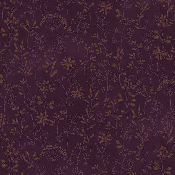 Henry Glass - by Janet Nesbitt - Stitched Flower Stripe Purple
