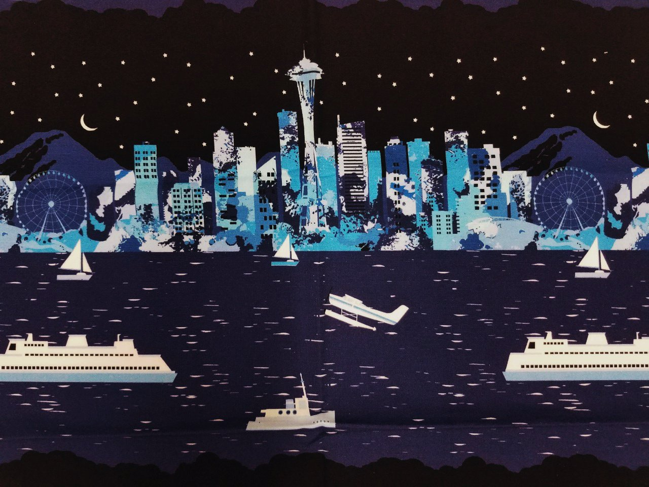 Pacific Fabrics Exclusive, Seattle Skyline - Repeat Stripe - Night