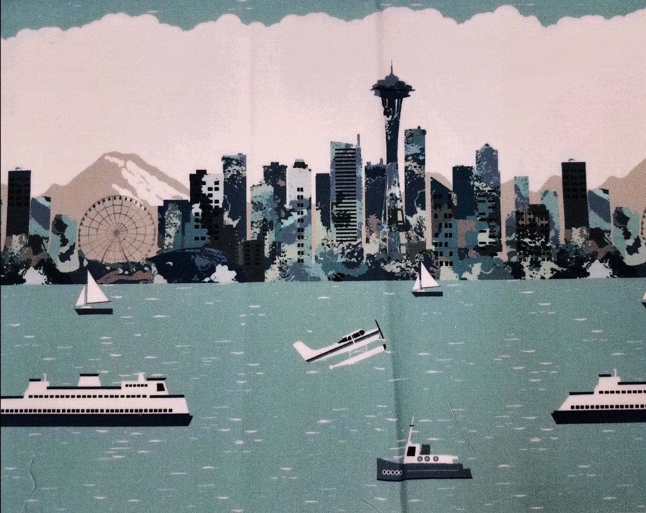 Pacific Fabrics Exclusive, Seattle Skyline - Repeat Stripe - Mist