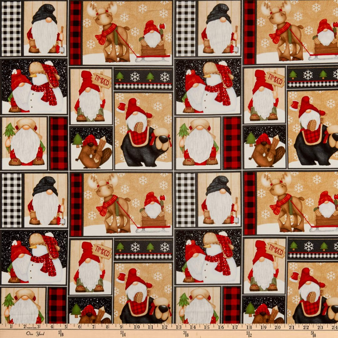 Timber Gnomies for Henry Glass by Shelly Comiskey - Gnomes Patchwork Multi
