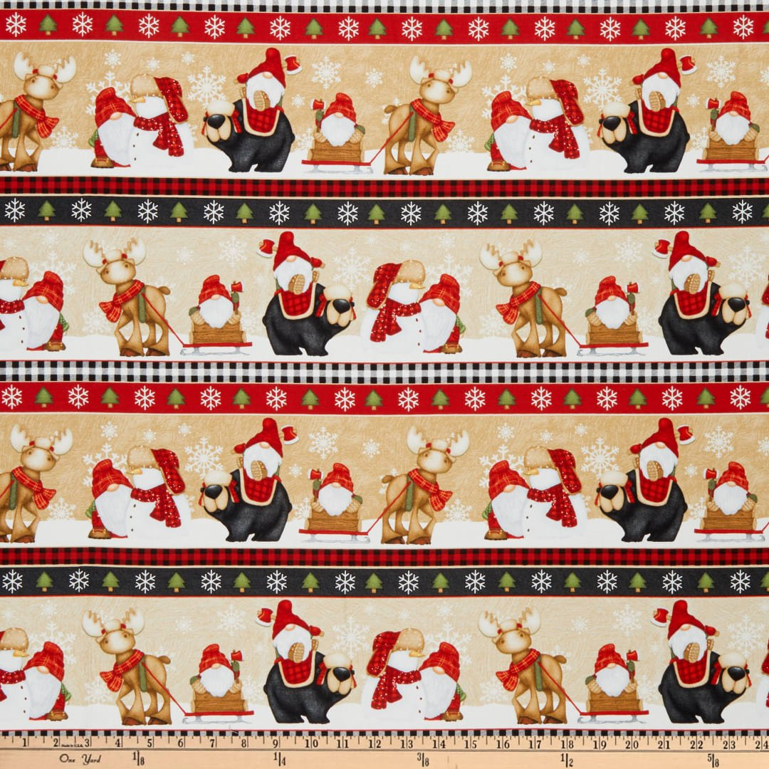 Timber Gnomies for Henry Glass by Shelly Comiskey - Novelty Gnome Stripe Multi