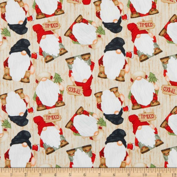 Timber Gnomies for Henry Glass by Shelly Comiskey - Tossed Gnomies Beige