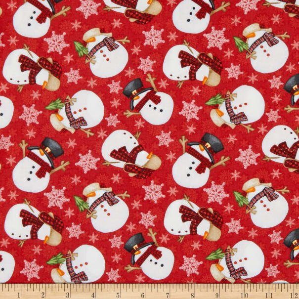 Timber Gnomies for Henry Glass by Shelly Comiskey - Tossed Snowmen Red